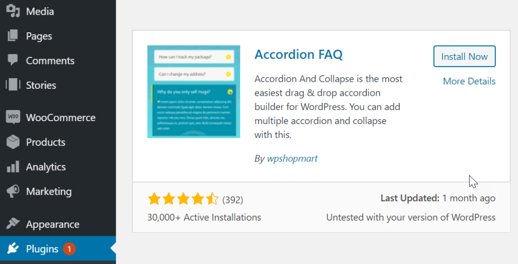 install Accordion