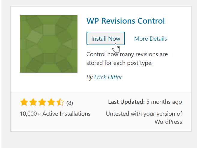 install WP revisions control plugin