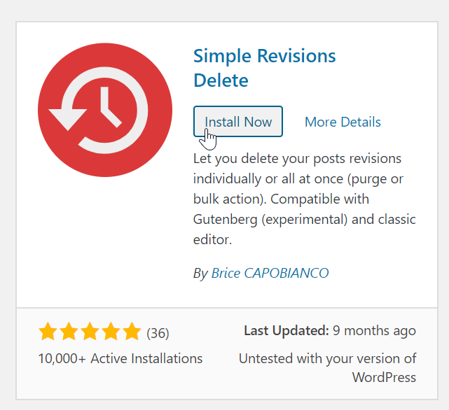 Install simple revisions delete