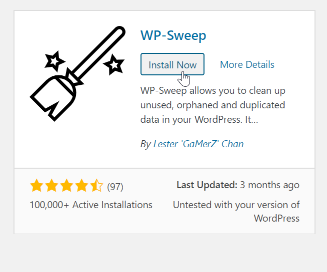 Install wp sweep