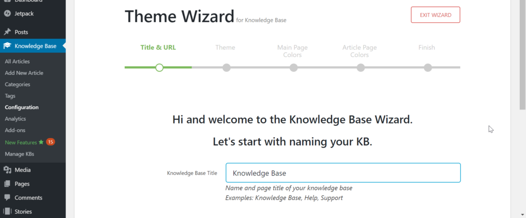 Get started screen for knowledge base plugin