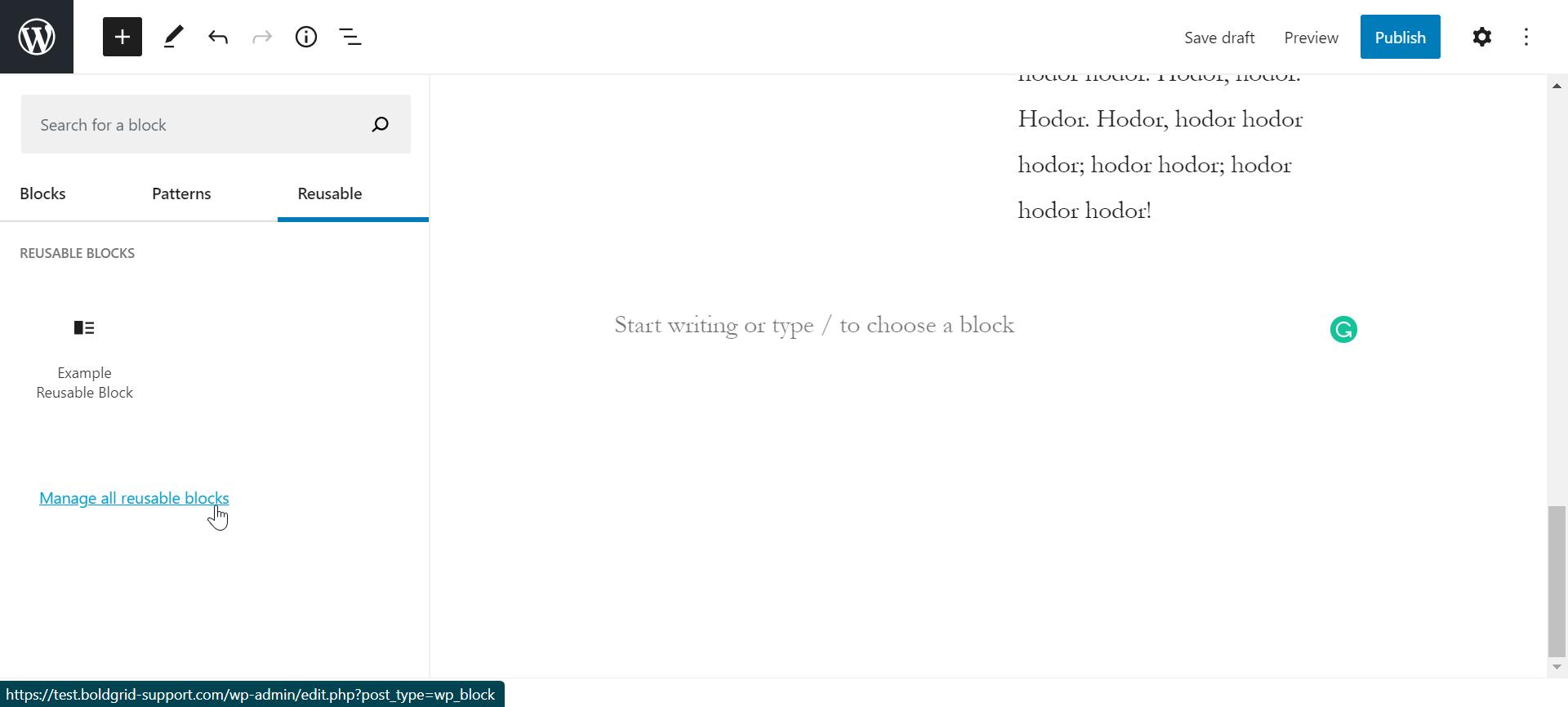 Manage reusable block in wordpress