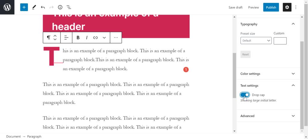 Adding paragraph block