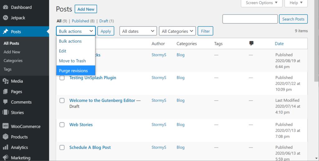 bulk purge all posts screen
