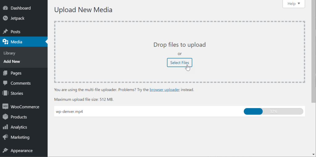 Upload video to media library