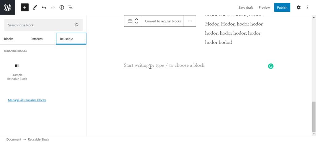 finding reusable block in wordpress