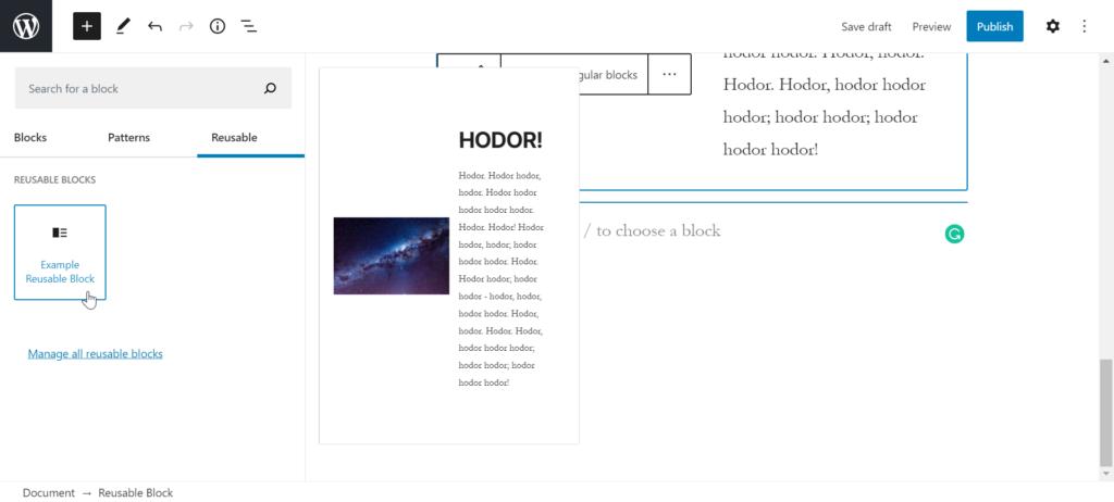 adding reusable block to wordpress post