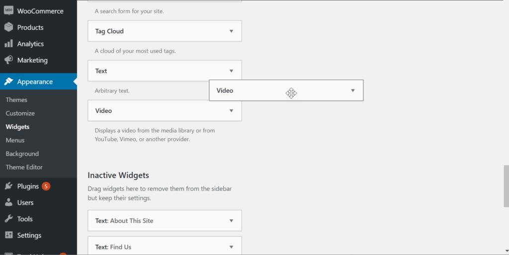 Add video widget to widget area
