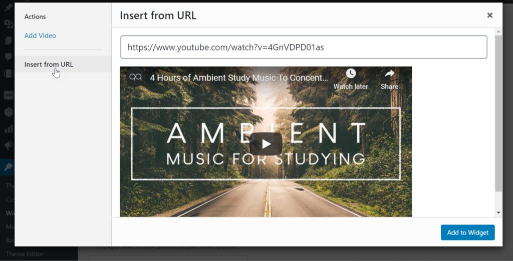 Add youtube link to widget block