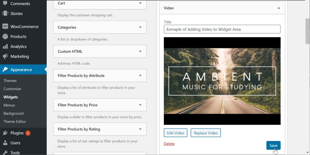 Save video widget