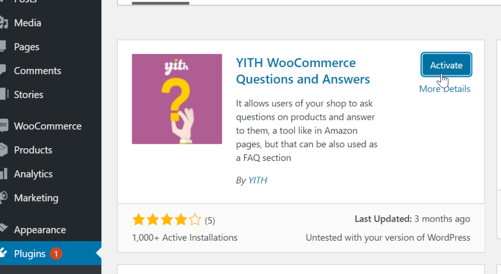 Install YITH woocommerce plugin