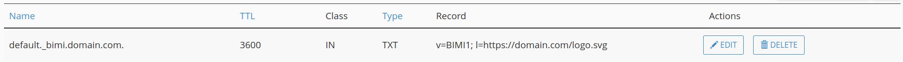 Example BIMI DNS record in cPanel