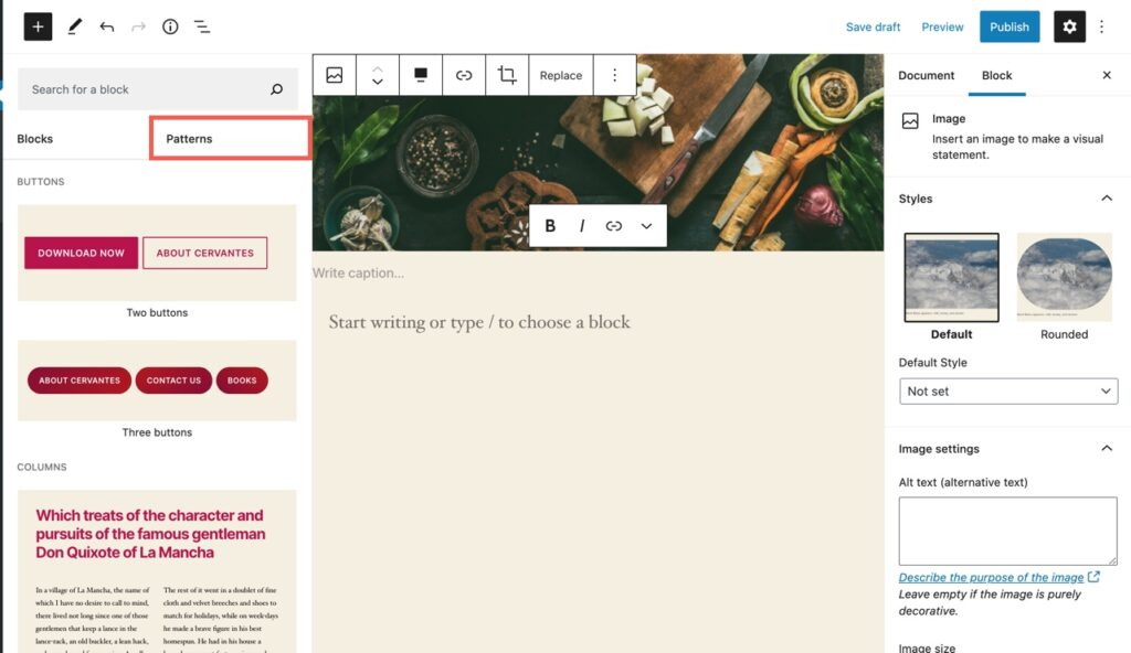 Find Patterns in WordPress visual editor