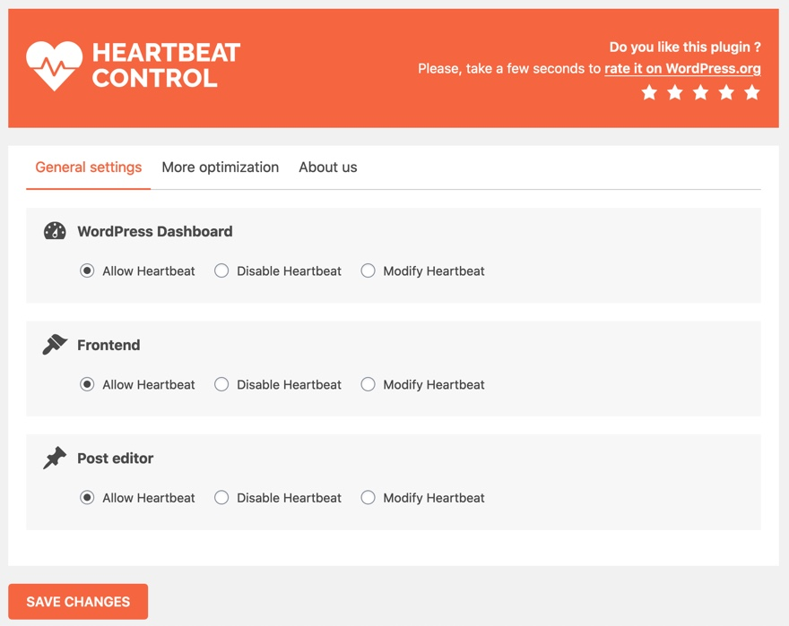 Heartbeat Control settings page