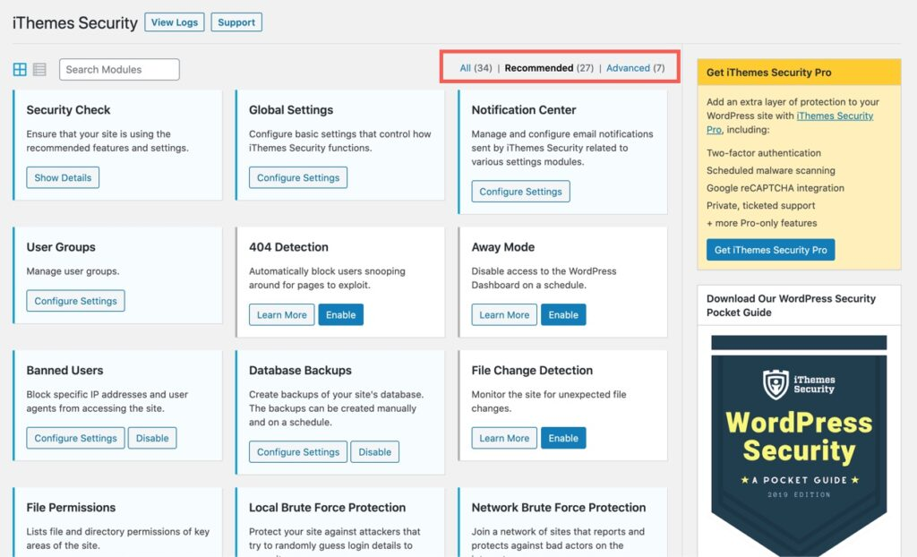 iThemes Security Settings page