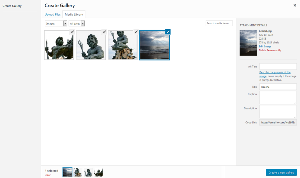 Add images from the Media Library or upload images