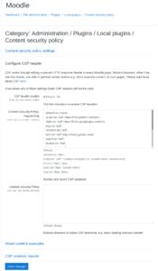 Local CSP Moodle plugin settings