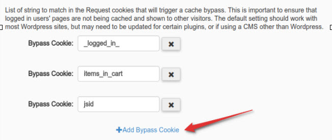 Bypass Cookies by matching specific strings