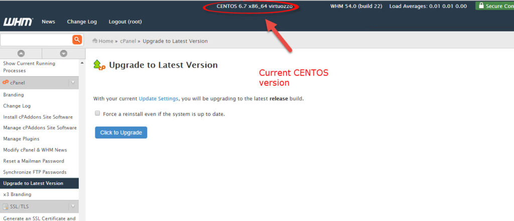 CentOS version at the top of WebHost Manager (WHM).