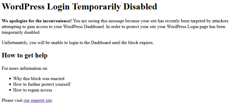 screen shot of the WordPress login being temporarily disabled