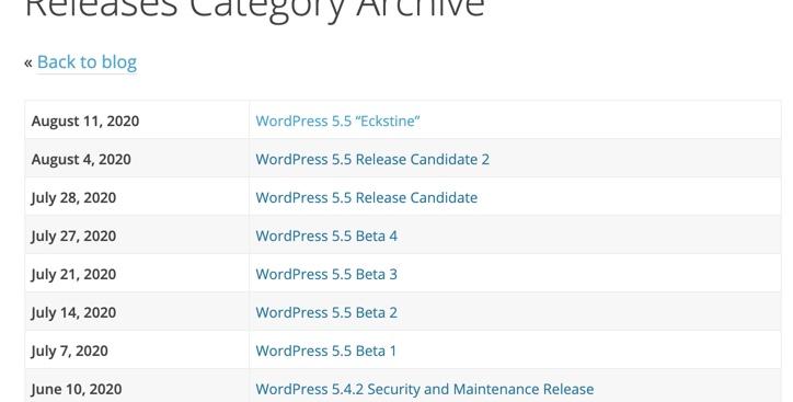 WordPress Releases Archive