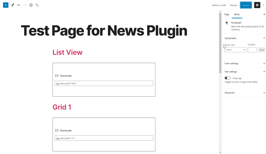 Adding news plugin shortcode to post