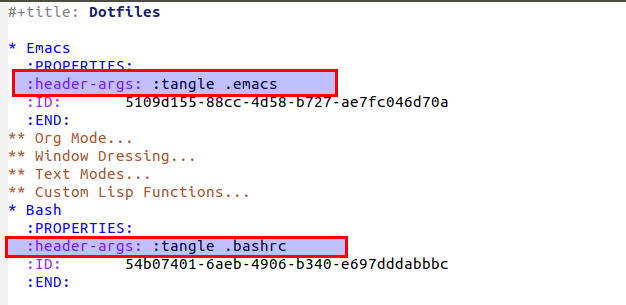 Emacs and bash setup file headers under the property drawer.