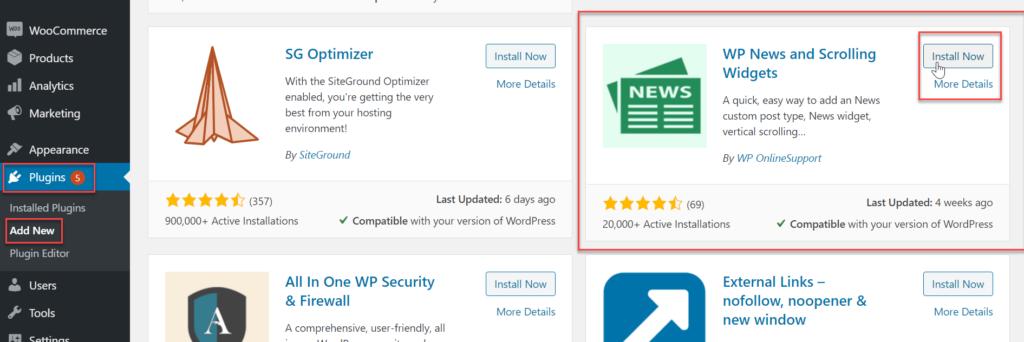 installing wp news plugin