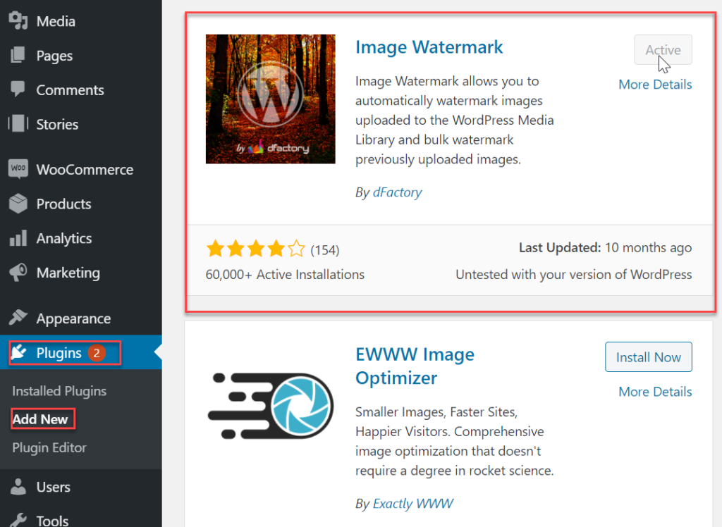 install image watermark