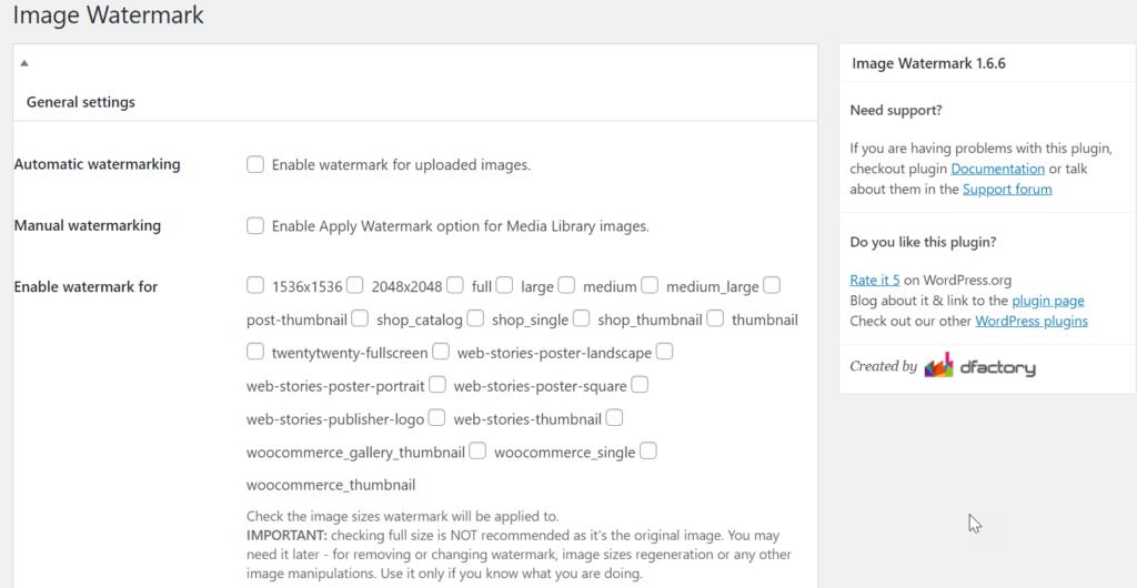 general settings for image watermark plugin