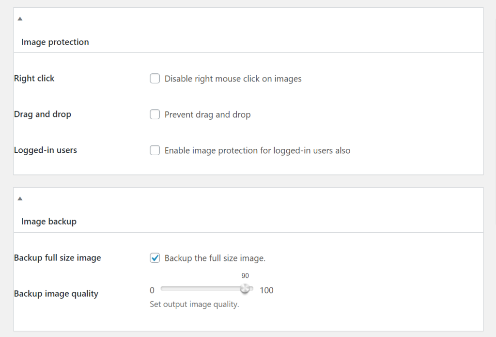 Image protection settings for image watermark