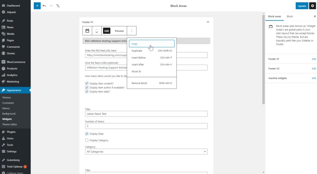 Editing widget blocks in dashboard