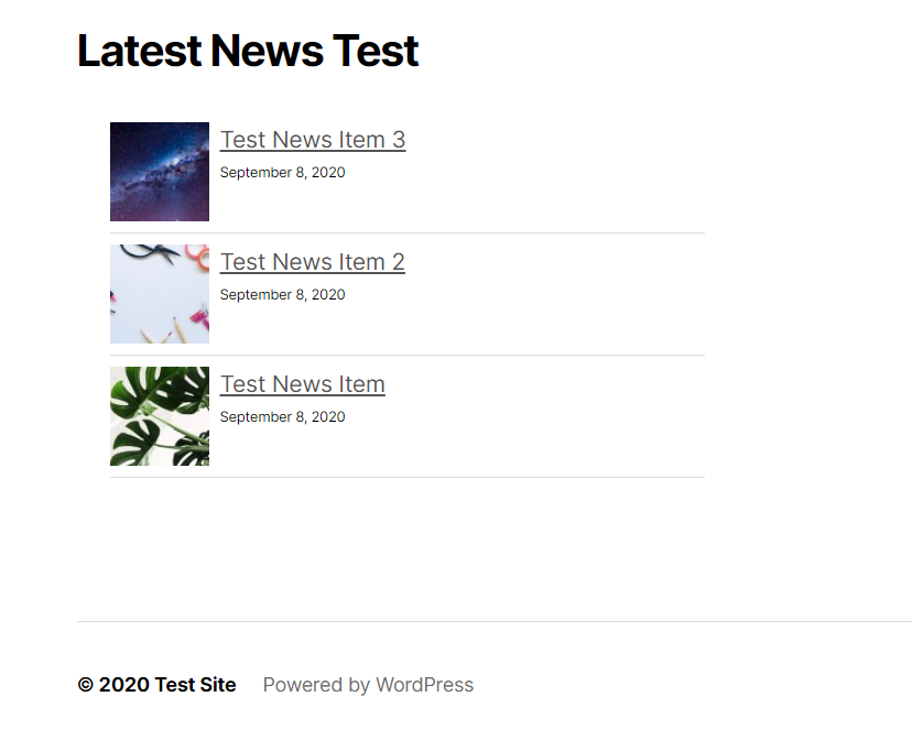 example of news widget in the footer