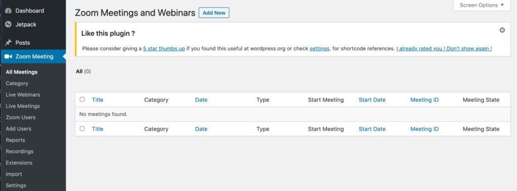 List of meetings and webinars