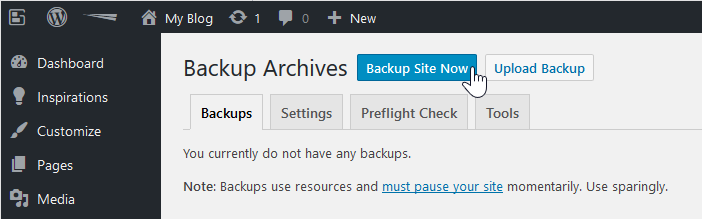 backup wordpress total upkeep