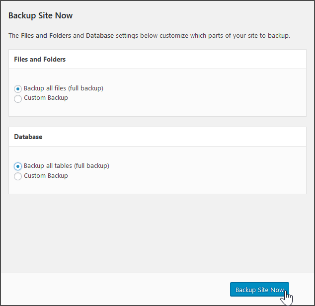 choose backup type total upkeep