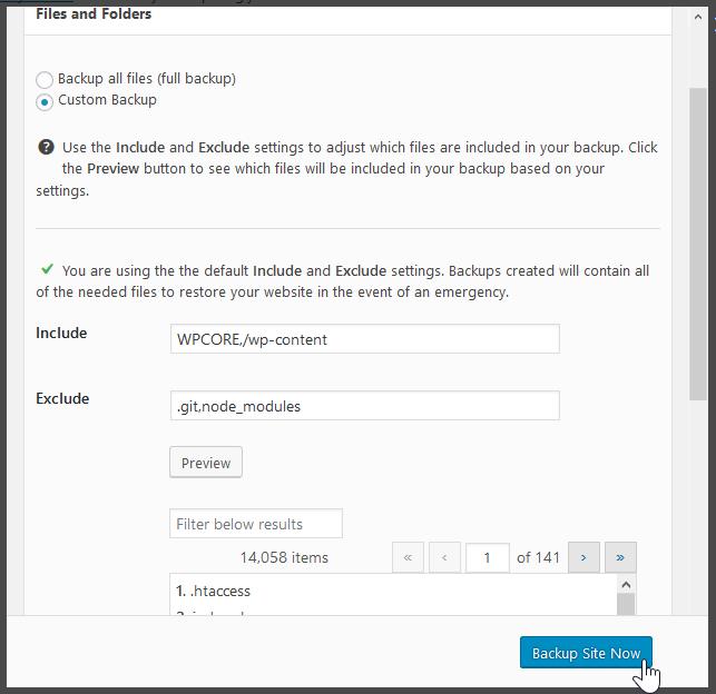 custom backup file selection