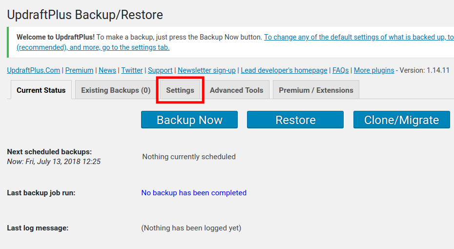 settings tab in updraftplus