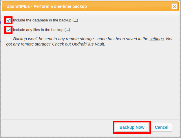 backup now with updraftplus