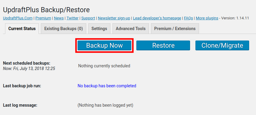 backup now options with updraftplus