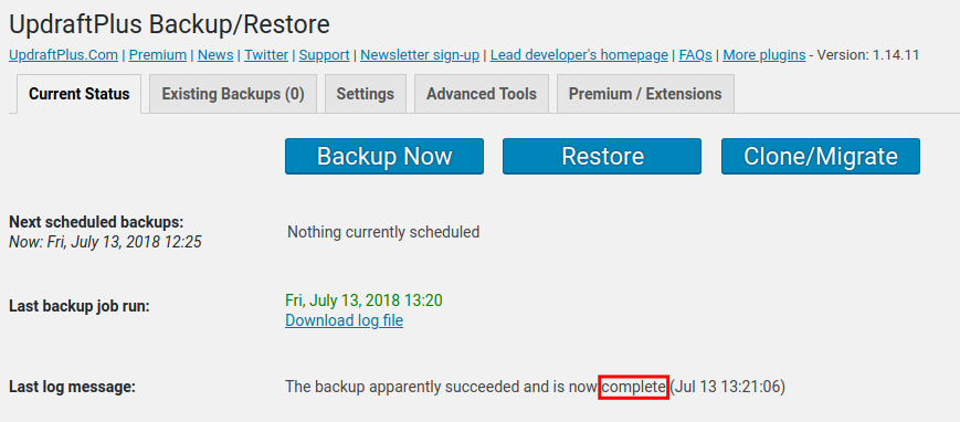 complete backup with updraftplus
