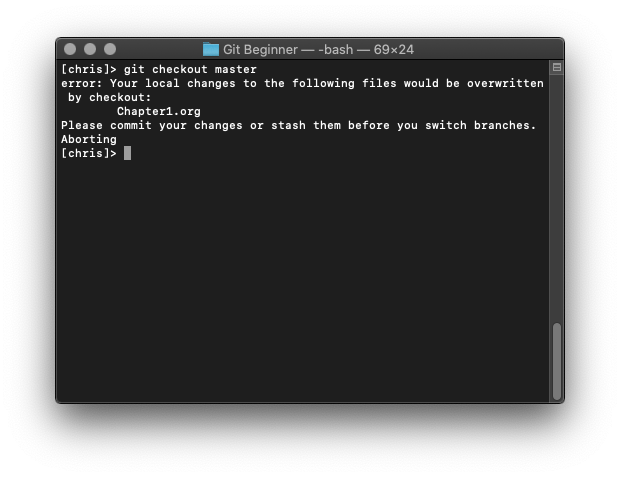 Git checkout warning: your local changes to the following files would be overwritten by checkout