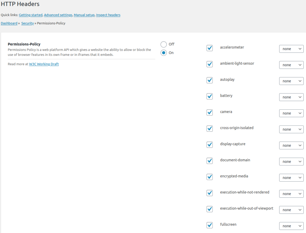 Permissions-Policy Settings Screen