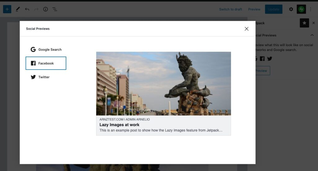 View the Social media preview - this example shows Facebook