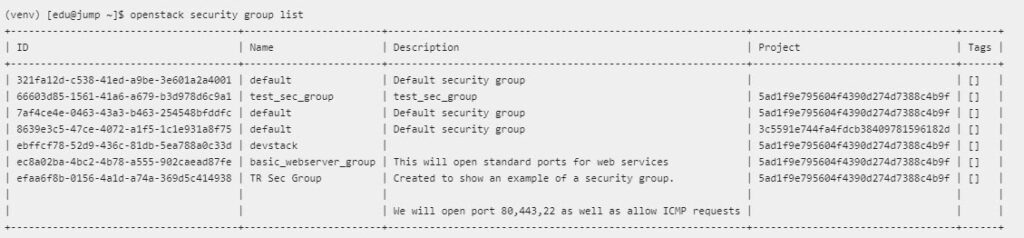openstack security group list command