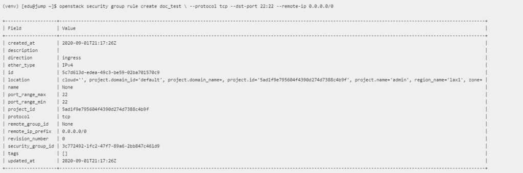 openstack security group rule create command shows the creation of a rule within a specified security group