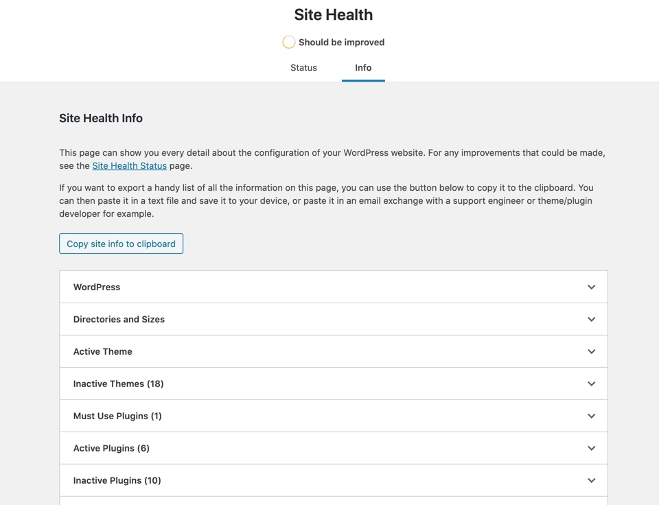 Screen shot of the Site Health Info page