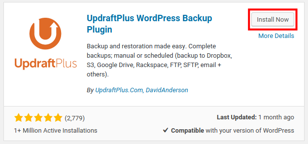 install now updraftplus