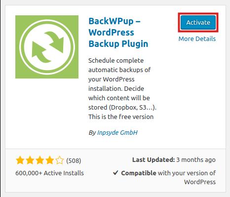 activaite backwpup