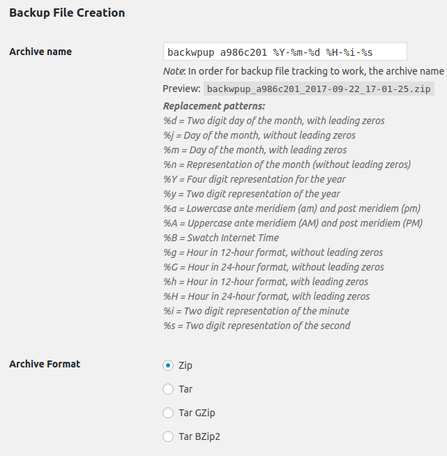 change archive name and file in backwpup